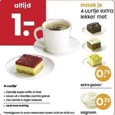 Hema 4-uurtje: koffie/thee met een gebakje